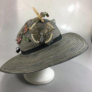 Caribbean Joe Floppy Hat M Butterfly Dragonfly Pin